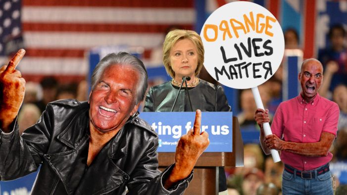 Orange Lives Matter Disrupt Clinton Rally